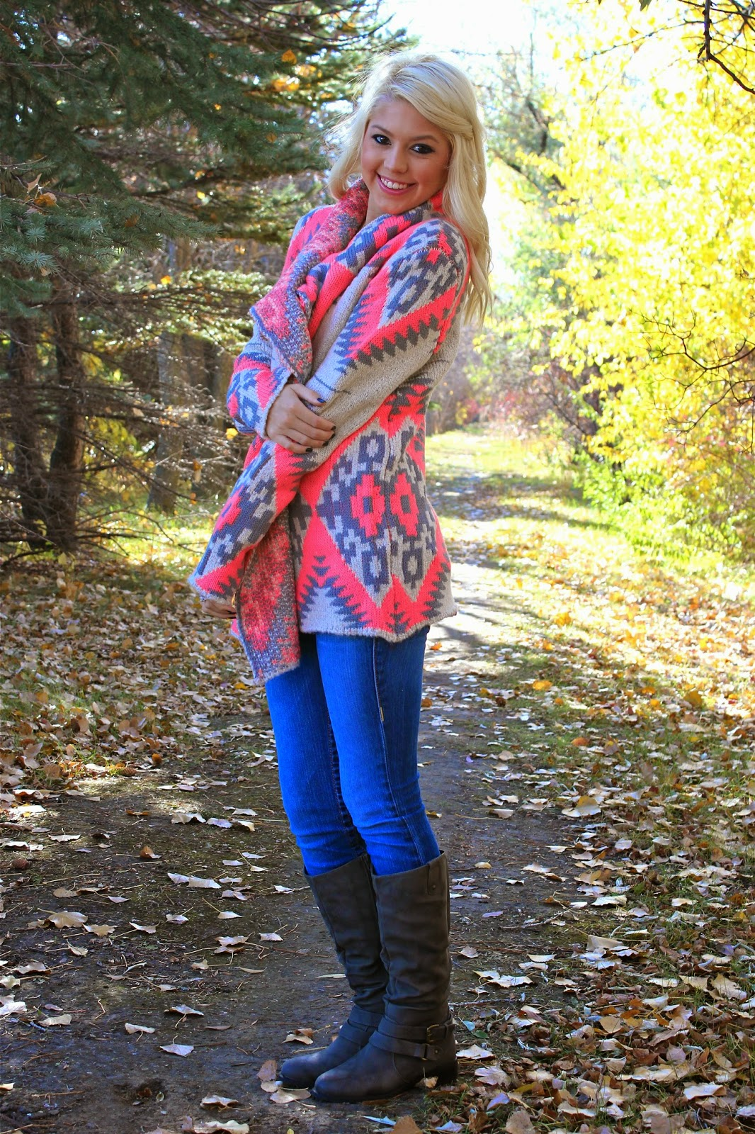 Neon tribal print cardigan