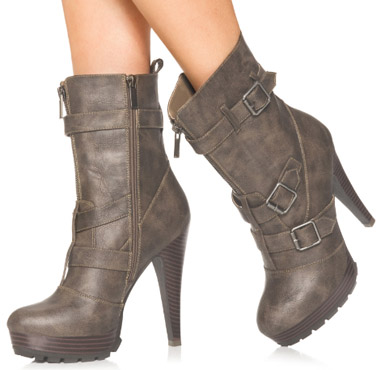 Neutral high heel booties
