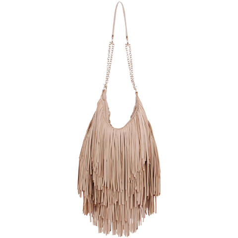 Nude fringe purse