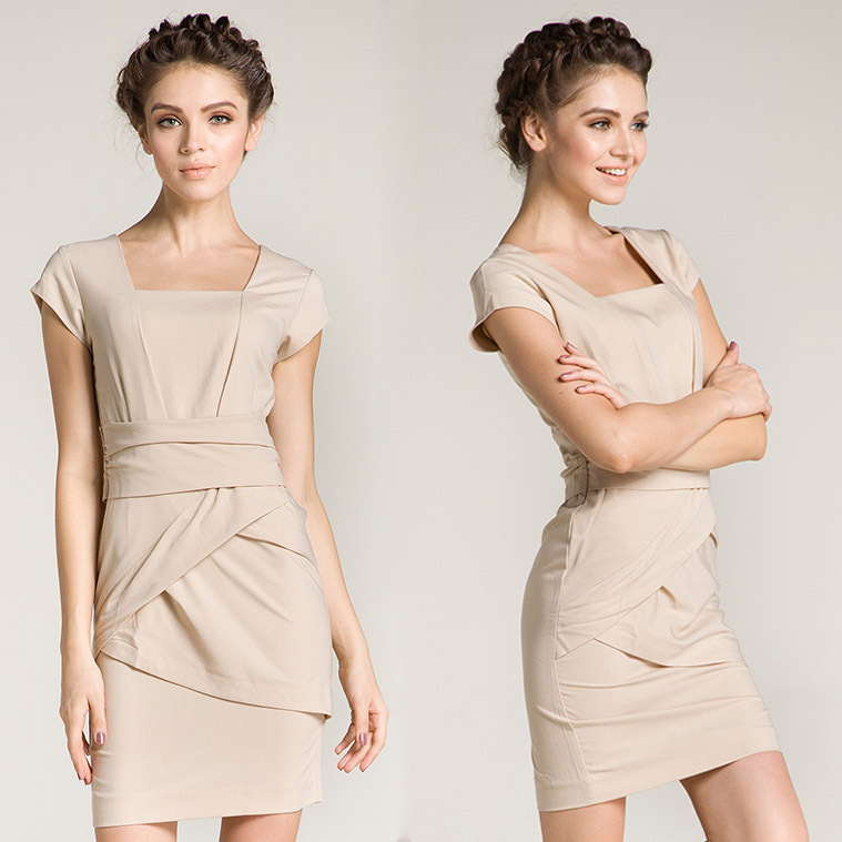 Nude short sleeve dress