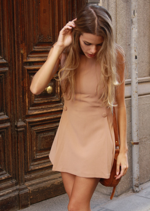 Nude short sleeve mini dress
