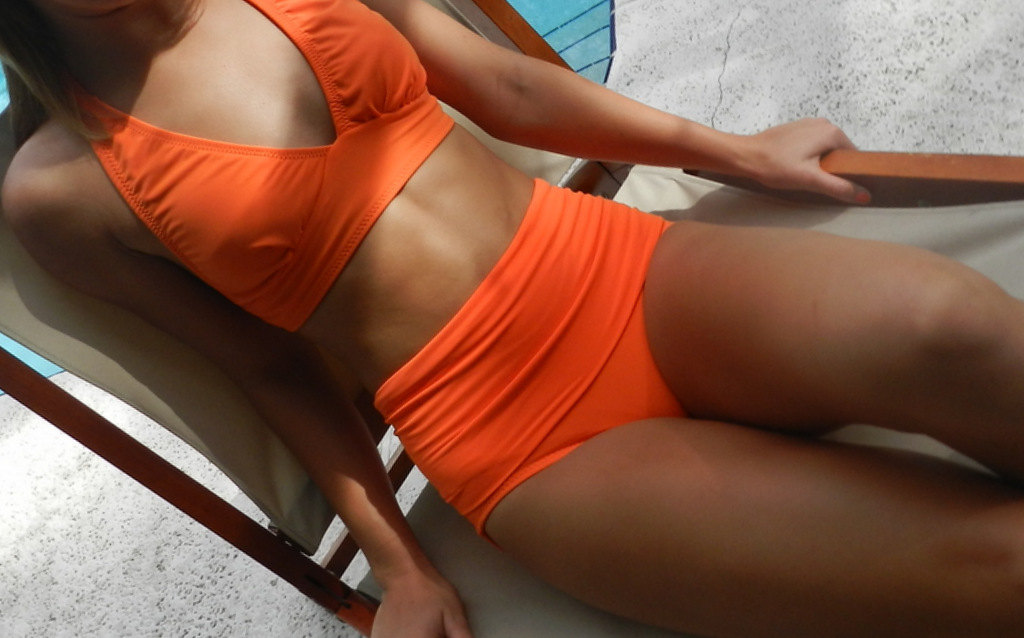 Orange high-waisted bikini