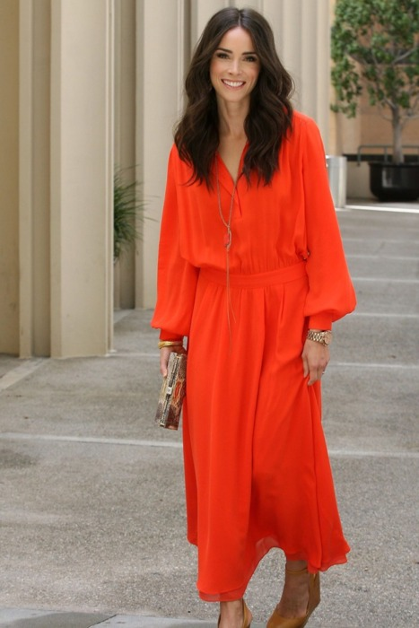 Orange long shirt dress