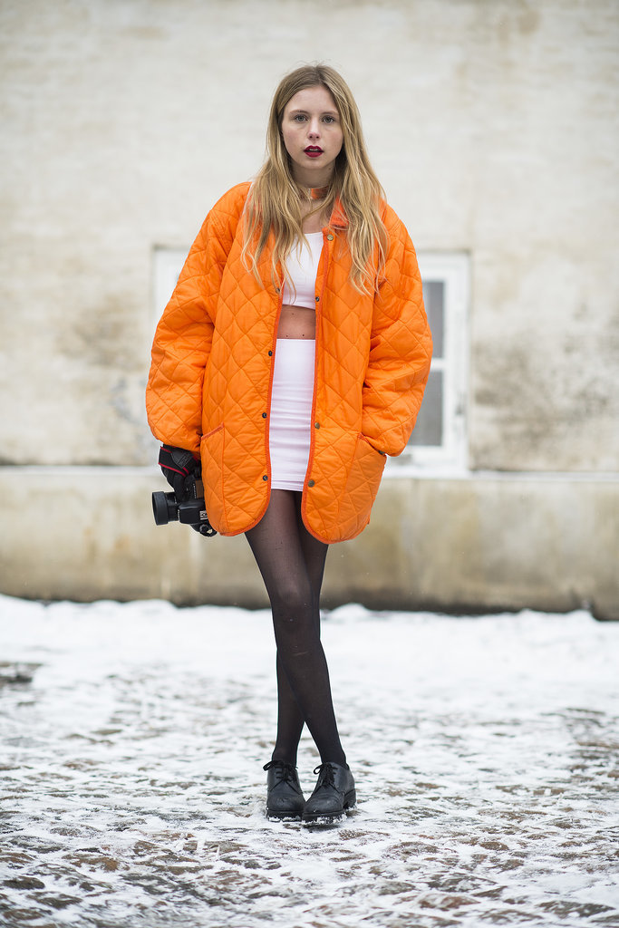 Orange quilted coat