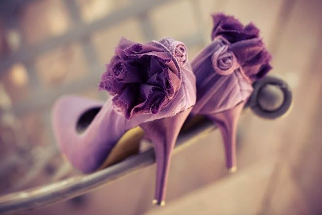 Orchid bridal shoes