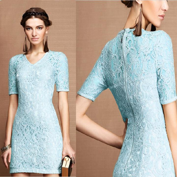 Pastel lace blue dress