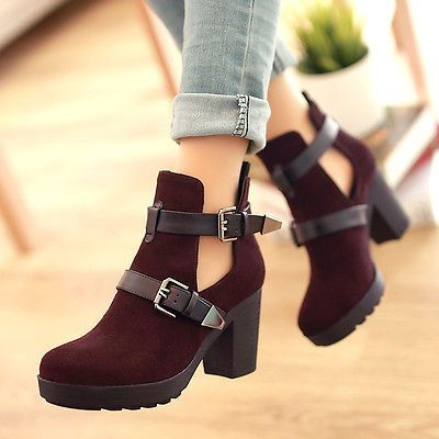 Platform heel cut-out booties