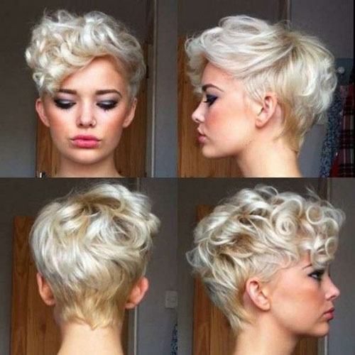 Platinum blonde short cut