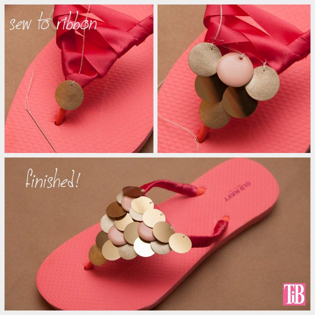 Pretty DIY Paillettes Embellished Flip-flops