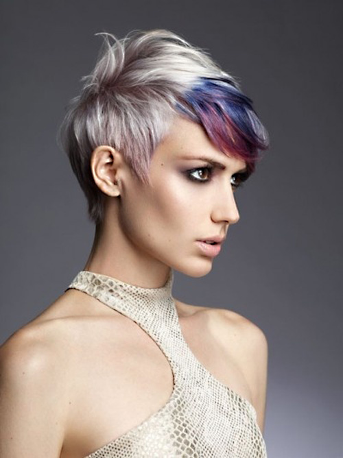 Radically colored bangs