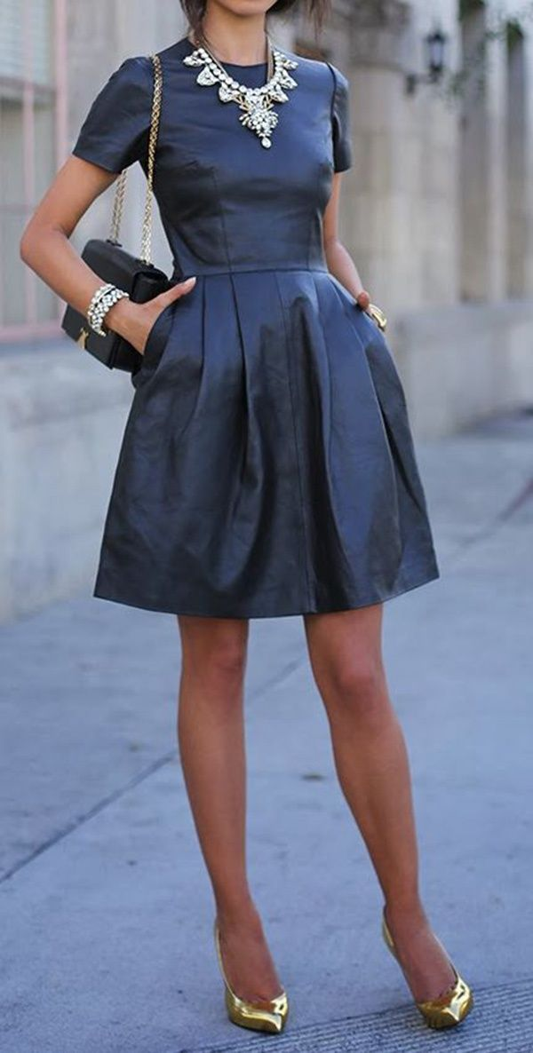 Reflecting pond pleated flare dress