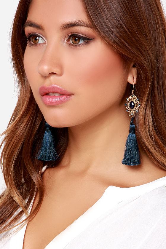 Reflecting pond tassel earrings