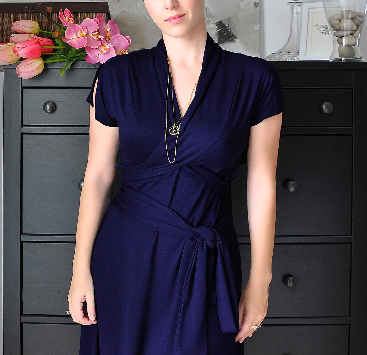 Reflecting pond wrap dress