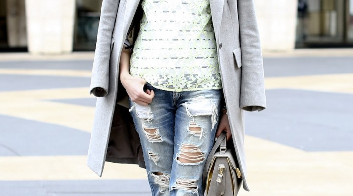 Ripped jeans and coat