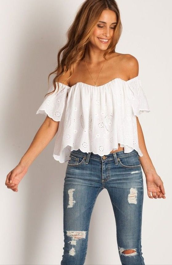 Ripped jeans and off shoulder top