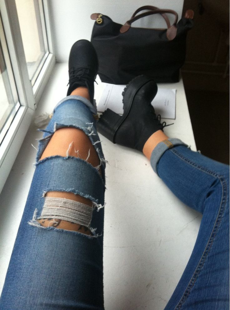 Ripped jeans and platform boots