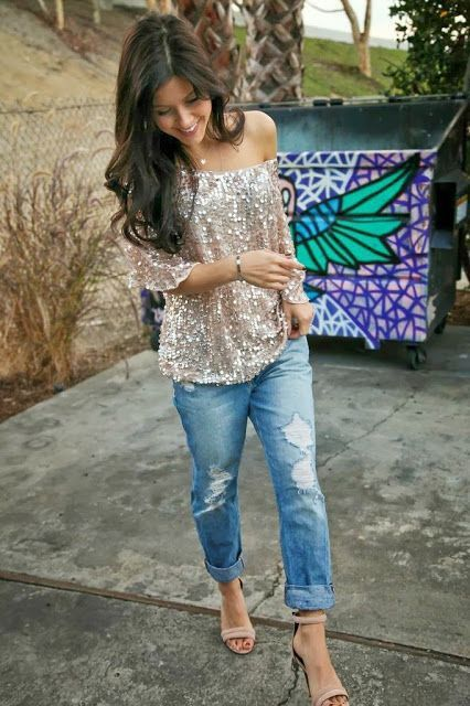 Ripped jeans and sequin top