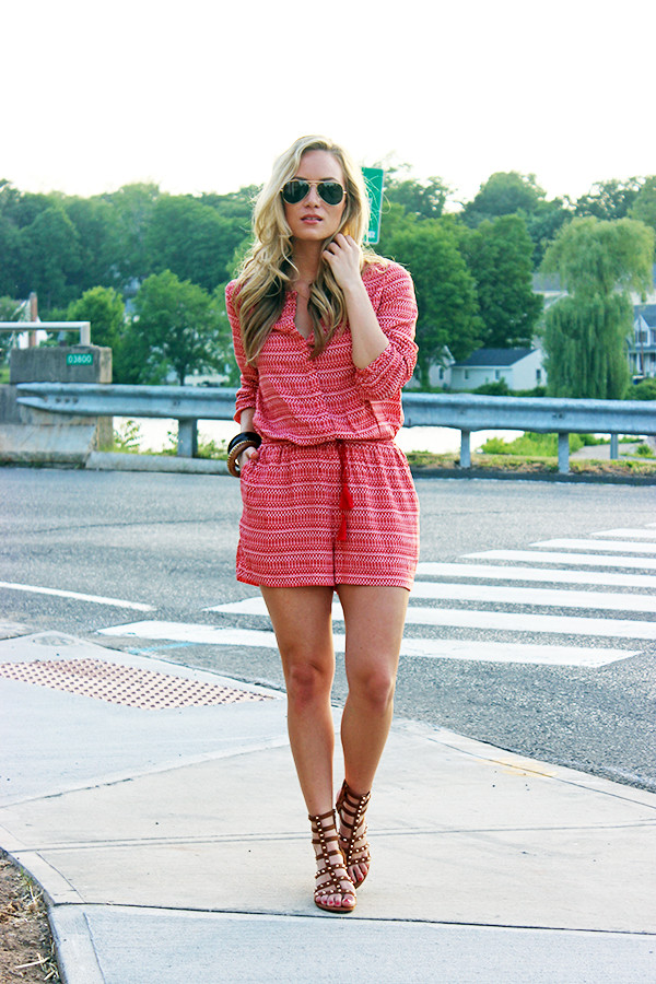 Red Plaid Romper Outfit for Summer