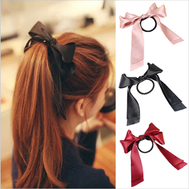 Satin bow ponytail holders