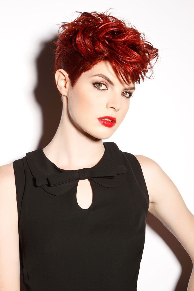 Short cut with cherry red color