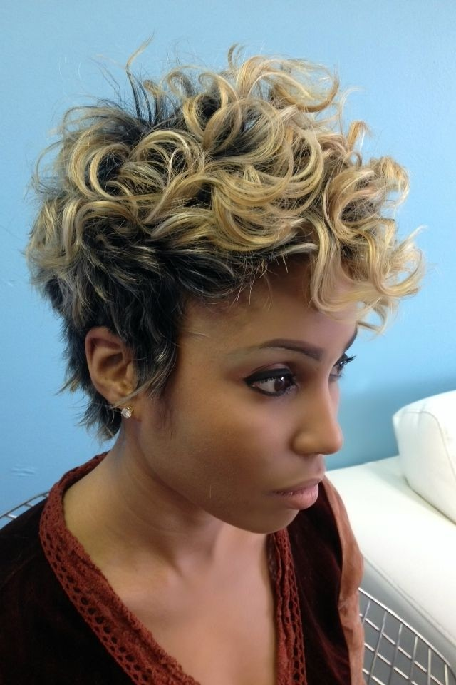Short with blonde highlights