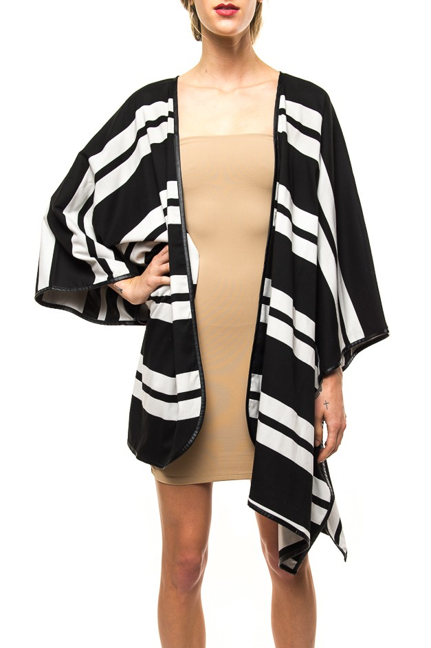 Striped cape jacket