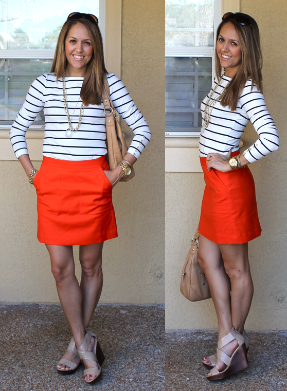Striped shirt and orange skirt