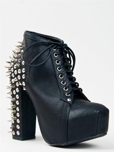 Studded platform heel booties