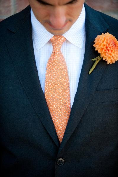 Tangerine groomsmen tie