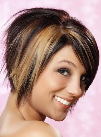 Tapered bob with blonde streaks