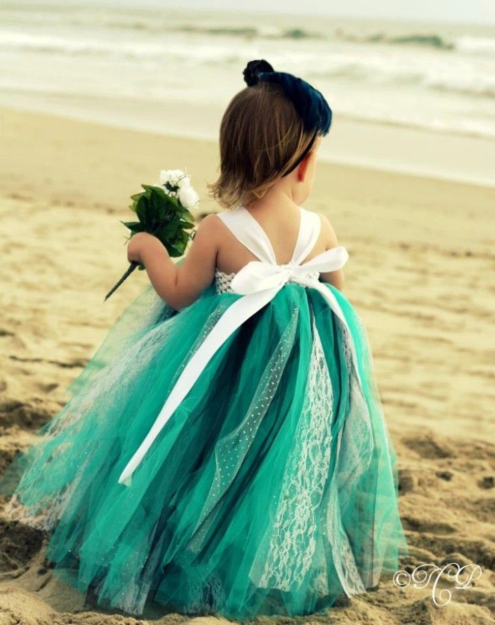 Teal flower girl's dress