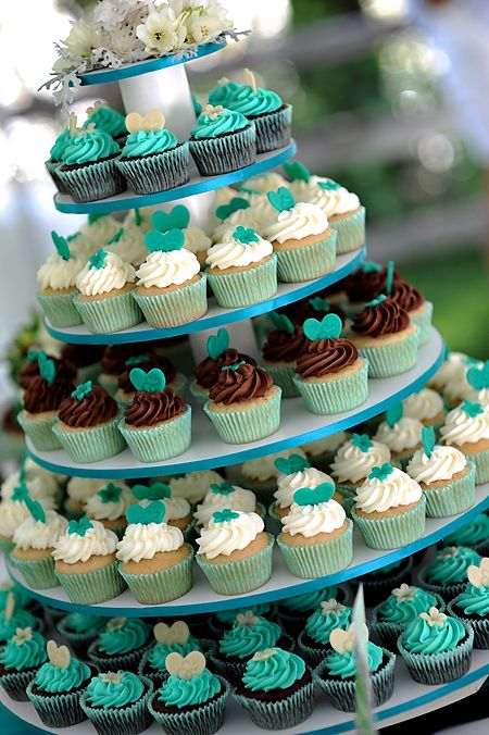 Teal wedding cupcake tower