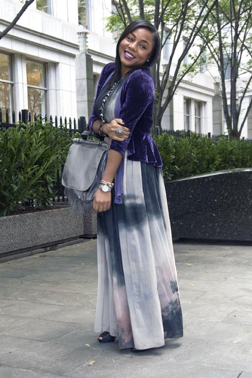 Tie dye dress and velvet jacket