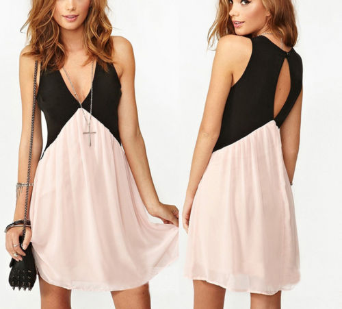 Two-tone sleeveless dress