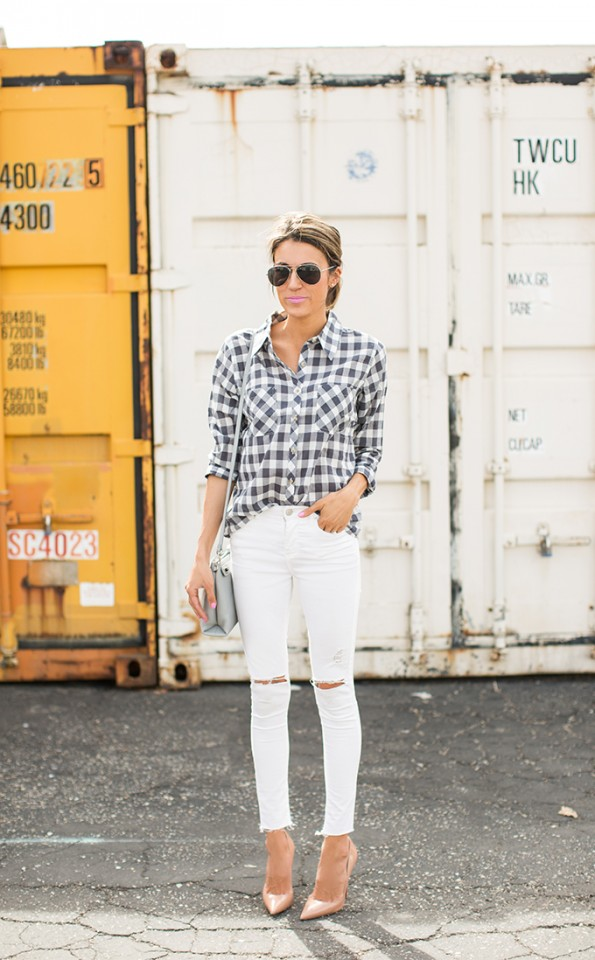 Youthful Combination with Checkered Shirt and White Jeans