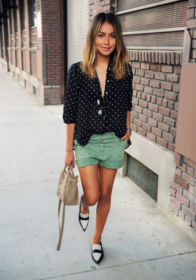 Black Shirt with Pea Green Shorts
