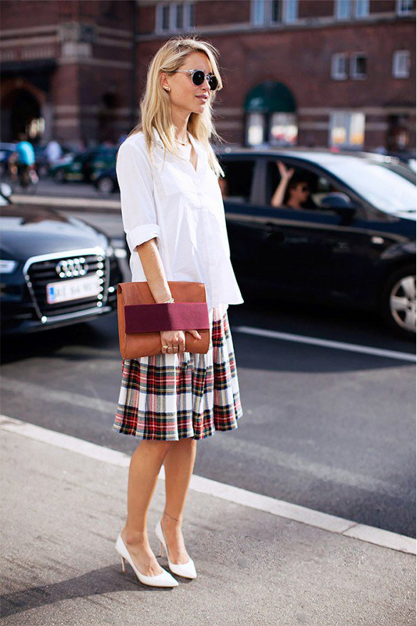 Pretty White Shirt with Checkered Skirt