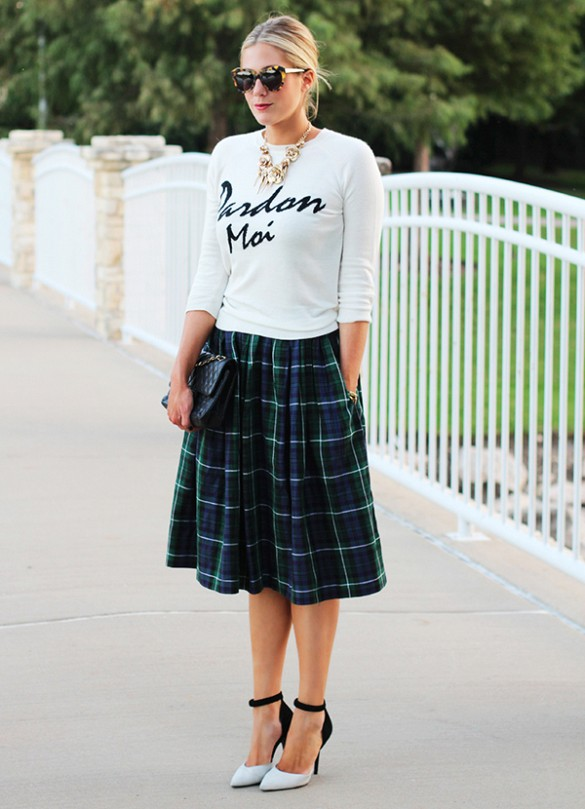 Green Checkered Midi Skirt Outfit