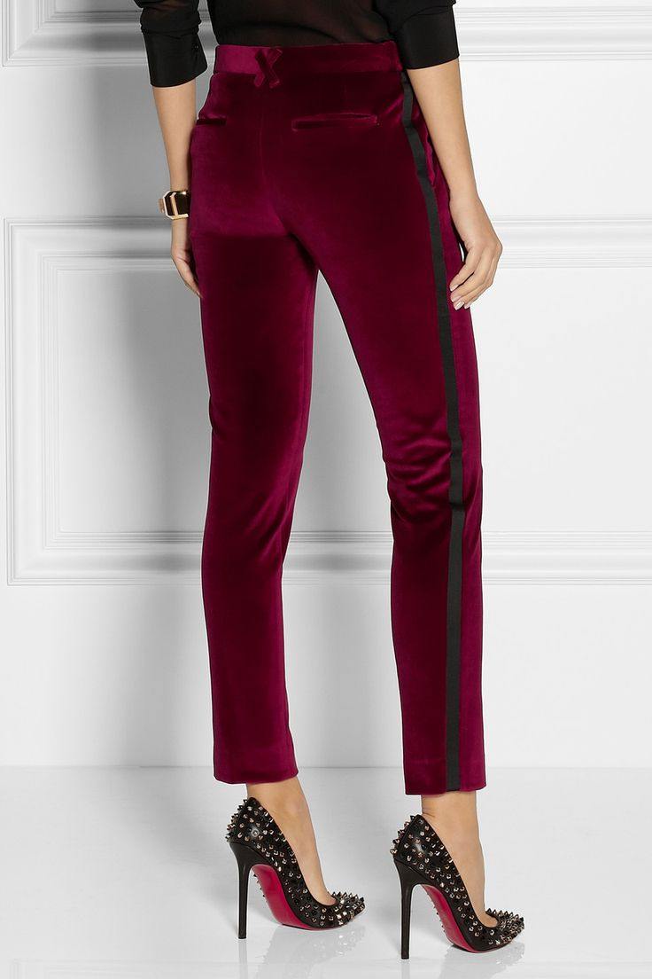 Beautiful Vince Women39s SatinTrim Tuxedo Pants  Coastal 10  Polyvore