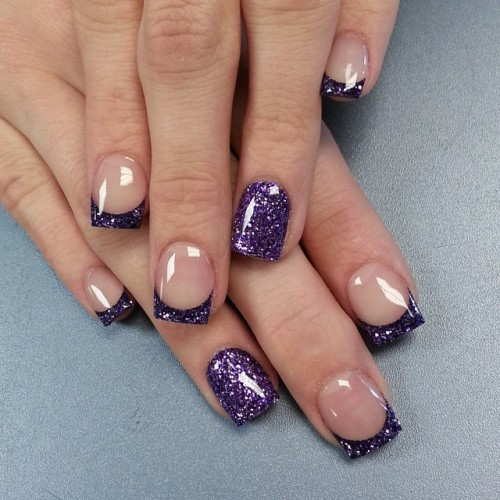 Glitter Purple Tip Nail Design - 15 Fashionable French Tip Nail Designs Styles Weekly