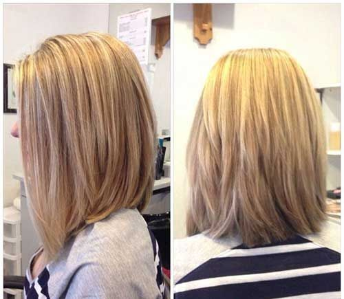Medium layered lob hairstyle