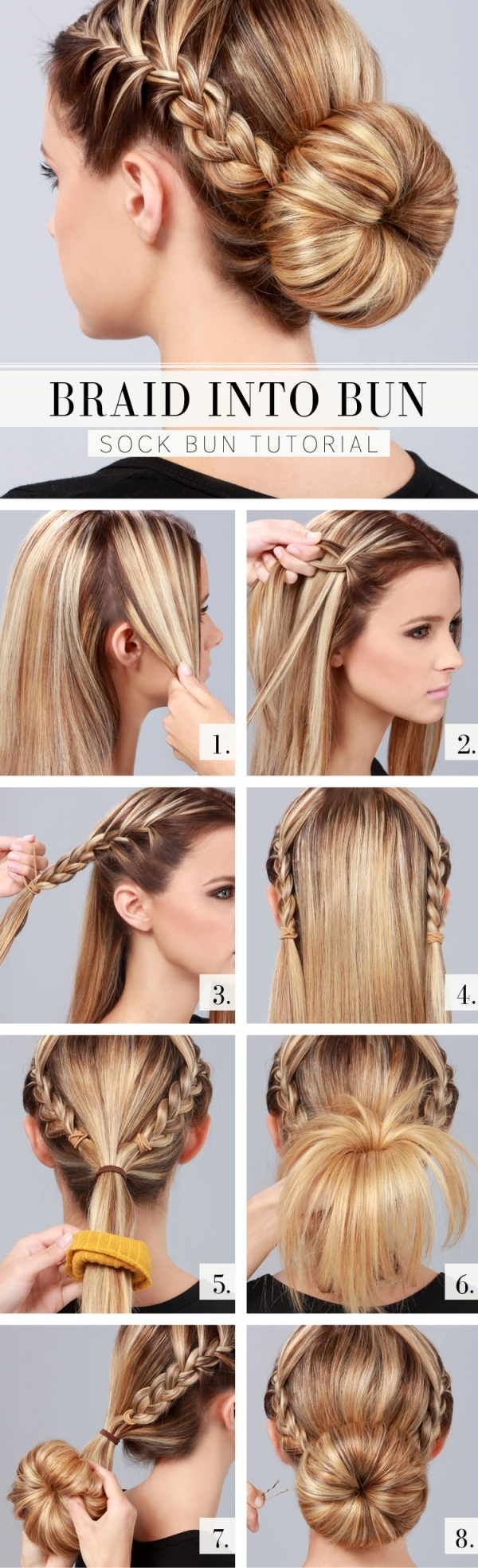 A collection of 23 super chic bun hairstyle tutorials styles weekly braid into bun tutorial solutioingenieria Image collections