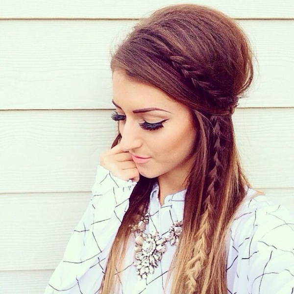 Bouffant Hairstyle With Braid