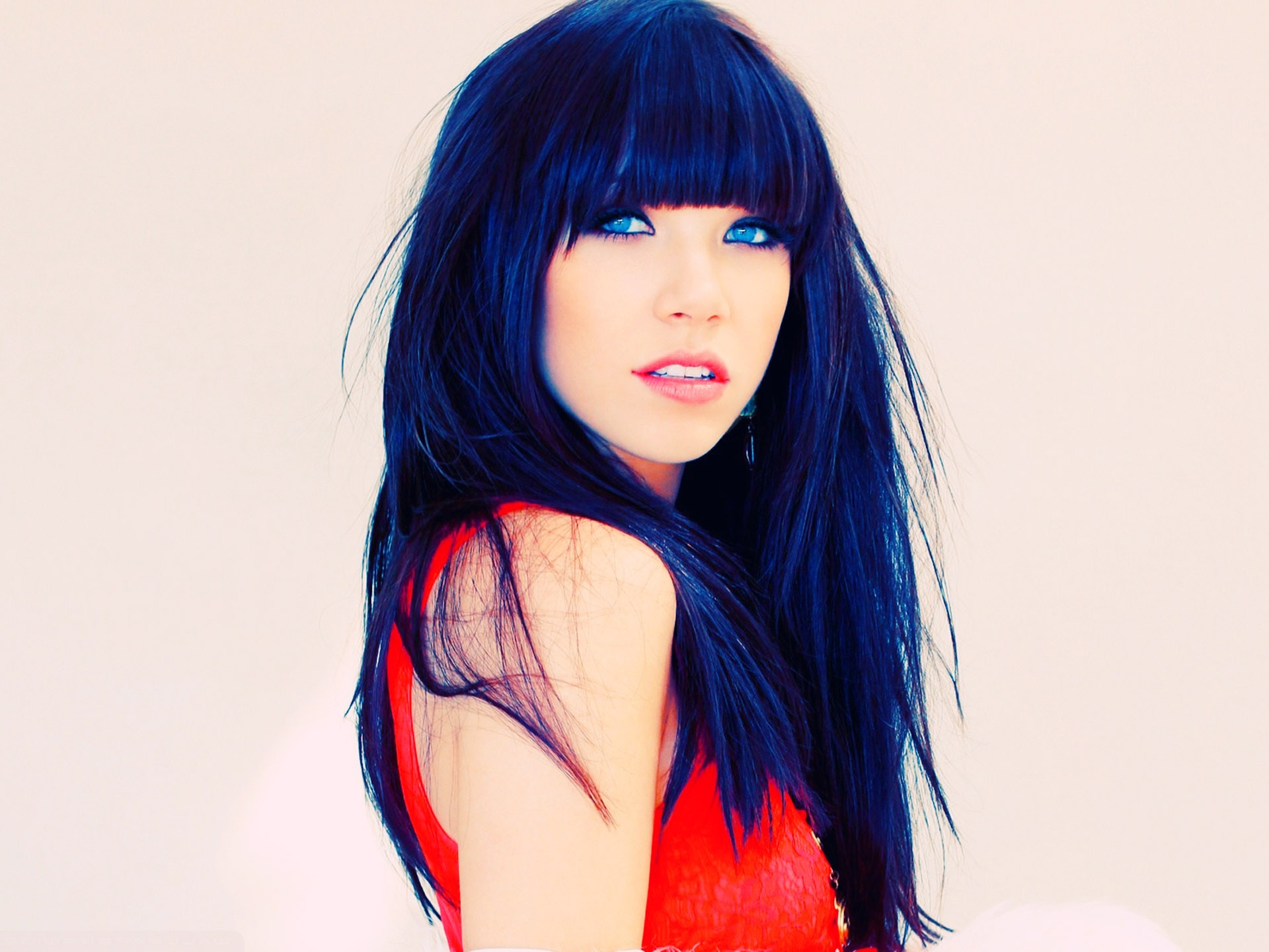 Carly Rae Jepsen Dark Blue Long Hair with Bangs