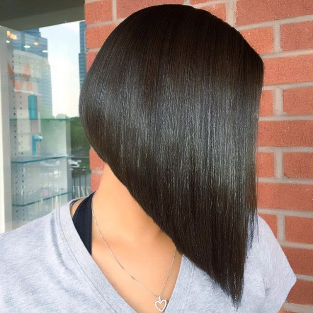 Dark Long Angled Bob Hairstyles