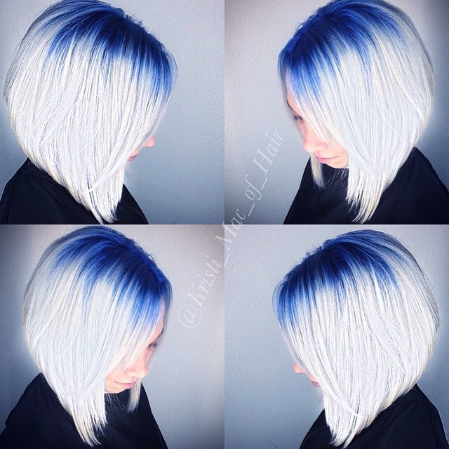 Blue to blonde ombre Angled Bob Hairstyle
