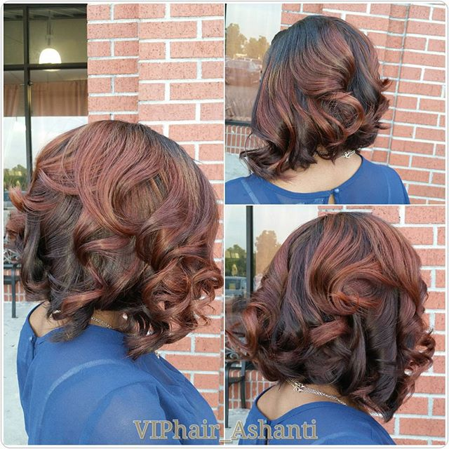Red dark Messy Bob Hairstyle for black women