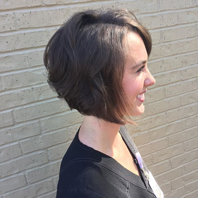 Short Soft Wavy Angled Bob Hairstyles