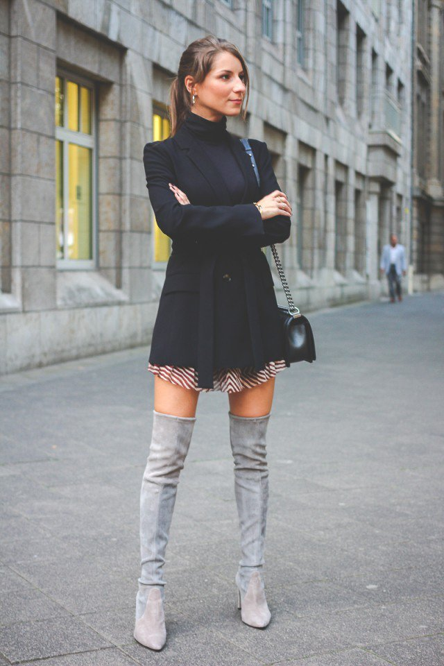Over The Knee Grey Boots - Cr Boot
