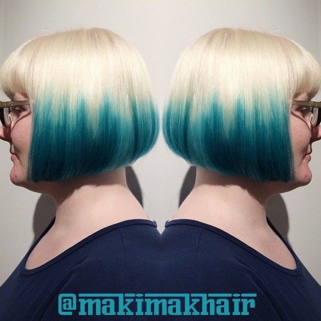 blonde to blue ombre graduated bob hairstyle with glasses
